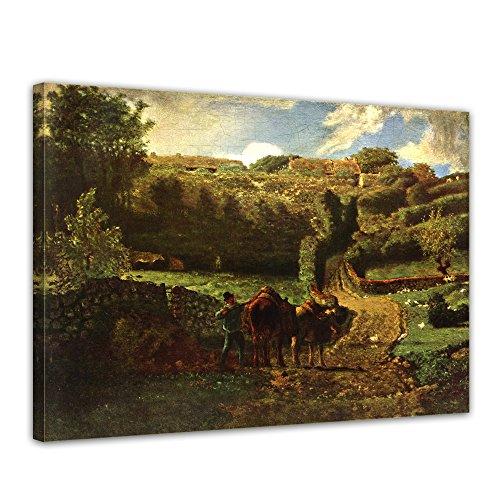 "Bilderdepot24 Leinwandbild Jean-François Millet - Alte Meister ""Der Weiler Cousin bei Gréville"" 70x50cm - fertig gerahmt, direkt vom Hersteller"