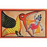 "Dolls Of India ""Krishna Killing Vakasur"" Kalighat Painting - Water Color On Paper - Unframed (55.88 X 38.10 Centimeters..."