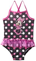 Minnie Mouse Girls 2-6X Toddler Minnie 1 Piece Swimsuit, Black, 4T