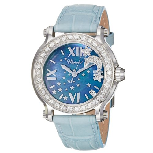 Chopard Happy Sport Round Ladies Blue Mother of Pearl Dial Moon Stars Watch 278475-2001