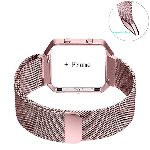 Fitbit Blaze Band Large (6.1-9.3 in), PUGO TOP Metal Frame Housing & Milanese Loop Stainless Steel Bracelet Strap Band for...
