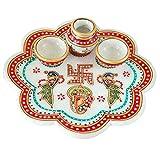 Marble Pooja Thali With Two Diya And Kalash