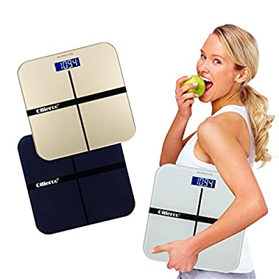 Ollieroo Tempered Glass Precision Digital Bathroom Body Weight Scale with Blue LCD Display, Smart Step-on 440lb Capacity
