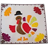 Thanksgiving Reusable Gel Window Clings ~ Colorful Turkey in Top Hat with Fall Leaves (18 Clings, 1 Sheet)