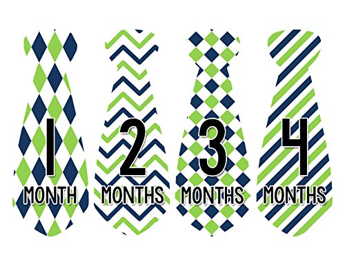 Months in Motion 723 Monthly Baby Stickers Necktie Tie Baby Boy Months 1-12