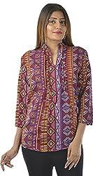 HotShot Women's Polyester V-Neck Tops (RH033, Large)