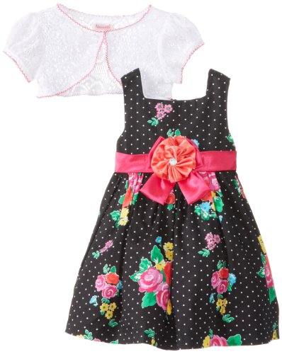 Younghearts Little Girls' 2 Pieced Floral Dress Set, Black, 3T