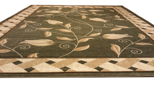 J711 Contemporary Modern Floral Hand Carved Green 5x8 Actual Size 5'3x7'2 Rug