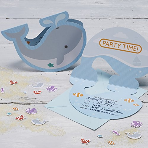 Ginger Ray Whale Sea Themed Birthday Party Invitations x 10 - Under The Sea