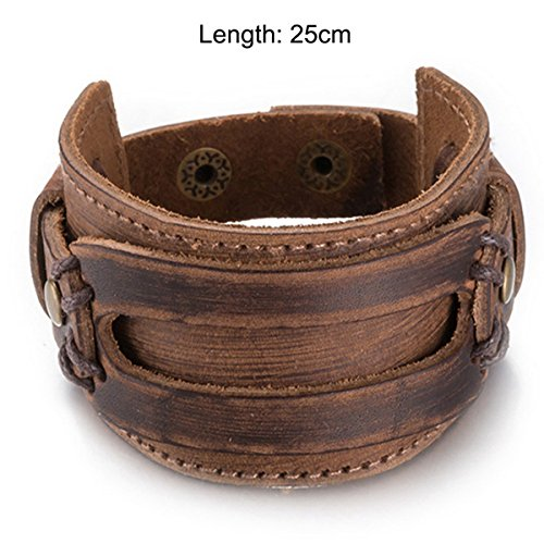 AT-LEATHER Male Vintage Bracelet Brown Black Wide Leather Rope Chain Cuff Bracelets Adjustable Punk BRC584 (Pater Noster Cord compare prices)