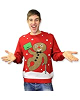Gingerbread Man Novelty Retro Unisex Red Christmas Jumper - Mens & Womens - XS to XXL