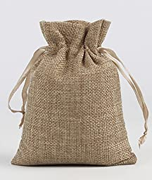 P2P@zita 10PCS Stylish Natural Burlap Gift Bag with Gold Satin Drawstring and Cotton Lining - 4\
