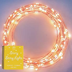 The Original Starry String Lights™ by Brightech - Warm White Color LED's on a Flexible Copper Wire - 20ft LED String Light with 120 Individually Mounted LED's. Set the Mood You Want Anywhere! - Perfect For Creating Instant Appeal in Any Setting - Parties, Bedrooms, or an Intimate Environment Anywhere in the Home