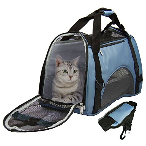 Soft Sided Pet Carrier for Dogs Cats Puppies 17″L x 8″W x 10″H Airline Approved Travel Tote Bag Portable Handbag Shoulder Bag for Pets, Blue