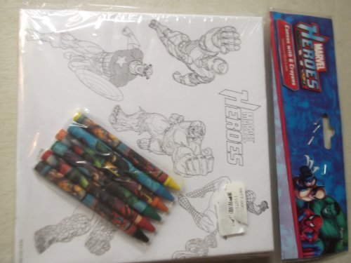 Marvel Heroes Canvas with 6 Crayons - 1