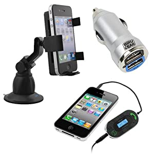 iKross 3.5mm LED FM Talk / Transmitter with Auto-Scan Car Kit + Metallic Silver 2-Port USB Car Charger Adapter 2A + iKross Car Windshield Mount Holder for Cell Phone, MP3, Windows, Android, Mobile Phone, Smartphone, Blackberry, Apple iPhone 4 4s