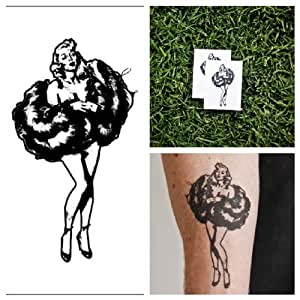 Marilyn monroe temporary tattoo set of 2 for Fake tattoos amazon