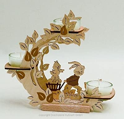 Floral Glass Candle Stand With Bunny Pulling Cart from My German Store