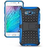 CHL Hybrid Military Grade Armor Kick Stand Back Cover Case For Samsung Galaxy J1 - Blue