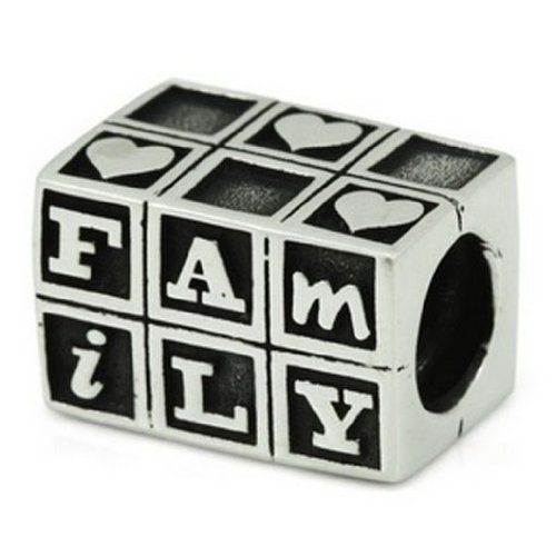 Ohm Sterling Silver Baby Blocks Love Family Bead Charm