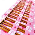 Seawhisper Set of 36 Pcs Carbonized Bamboo Knitting Needles Single Pointed Weave Knit Needles in a Pink bag Size 2.0mm-10mm