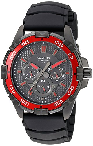 Casio Men's MTD1069B-1A2 Round Analog Black and Red Dial and Black Resin Strap Watch (Casio Red Dial Watch compare prices)