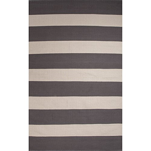5' x 8' Steel Gray & Light Gray Trion Flat-Weave Hand Made Striped Cotton Area Throw Rug