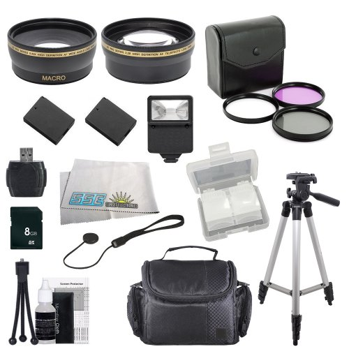 Canon EOS Rebel T3 (1100d), T5 (1200d) SLR Digital Accessory Package Including .43x Wide Angle Lens, 2.2x Telephoto Lens, 3 Piece Multi-Coated Filter Kit, 2 Extended Life Batteries, External Charger, Slave Flash, 8GB SD Memory Card, Card Reader, Memory Card Wallet, Lens Cap Keeper, Carrying Case, Full Size Tripod and Cleaning Kit