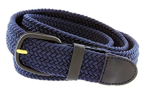 """Braided Woven Elastic Stretch Belt With Matching Leather Covered Buckle (2XL(44""""-46"""") 50.5"""" Total Length, Navy)"""