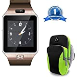 Meizu Pro 6 Compatible Certified DZ09 Heartrate Test Smart Watch Phone Camera SIM Card With Running Jogging Sports Gym Arm Bag Mobile Phone Holder Case Cover(1 Year Warranty)