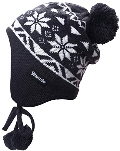 Wantdo Unisex Knitt Earflap Hat Winter Ski Hat Knit Cap