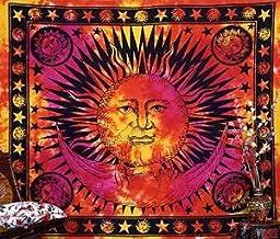 Handicrunch Psychedelic Celestial Indian Sun Hippie Hippy Tapestry Wall Hanging Throw Tie Dye Hippie Hippy Boho Bohemian Tye Die Hand-loomed Window Doorway Door Curtain