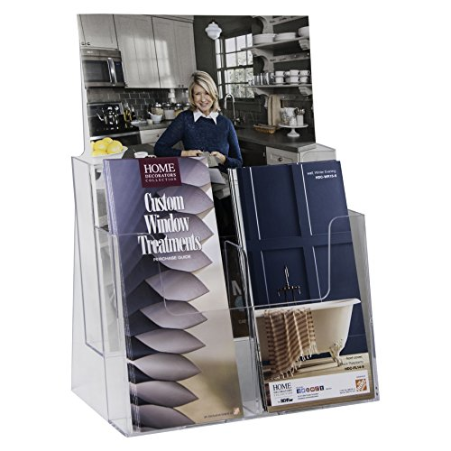 Clear-Ad - LHF-S82 - Acrylic 2 Tier Brochure Holder Organizer - Table Top or Wall Mount - 8.5 x 11 (Pack of 8) (Deluxe Coupon Organizer Ii compare prices)
