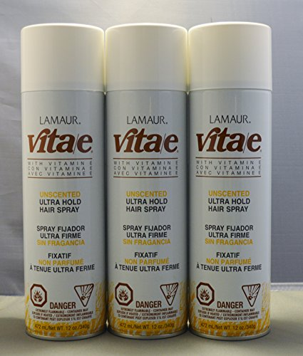 Lamaur Vita-E Ultra Hold Professional Hairspray Unscented 80% Voc 12 Oz (3 Pack)