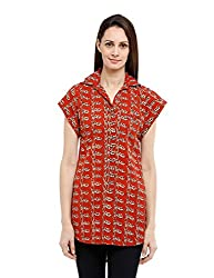 Fabindia Women's Hand Block Printed Tunic (10296194_Natural and Red_Large)