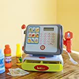 Kidstech Modern Supermarket Multi Functional Kids Pretend Play Cash Register with Lights and Sound, Scanner, Credit Card, Working Mic, and Playfood - Great Food Playset for Kids - Great Toy Gift for Kids and Toddlers