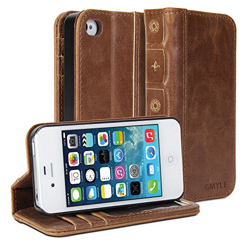 iPhone 4S Case, GMYLE Book Case Vintage for iPhone 4 4S – Brown Classic [Crazy Horse Pattern] [PU Leather] Book style Flip Folio Case Cover image