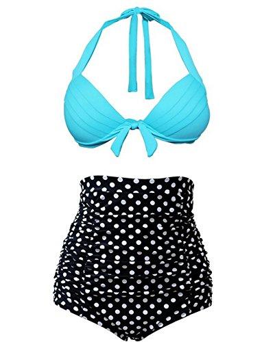 Spring Fever Women's High Waist Sexy Halter Polka Dots Diving Suit Black XL (US: 8-10)