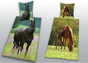 2 parures de lit housse de couette enfant cheval chevaux - Housse de couette cheval ...
