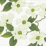 Entertaining with Caspari White Blossom Paper Cocktail Napkins, Pack of 20