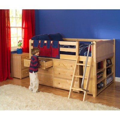 Cheap Maxtrix Kids XL 1 / Large 1 Full Block Low Loft Bed with Dresser and Bookcase (XL 1 / Large 1)