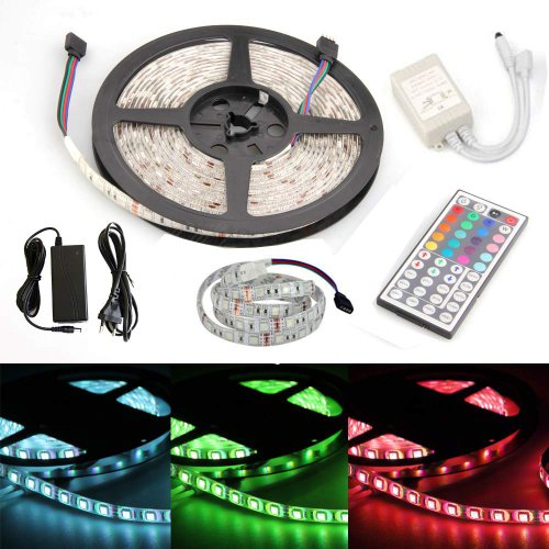 Happy Hours® Non-Waterproof 30 Led/M Rgb Color Changing Smd 5050 High Density Led Light Strip Lamp Kit Ideal For Chrismas, Party, Indoor/ Outdoor Decoration + 44 Key Remote Controller + 12 Volt Power Supply Pack Of 2 Meters