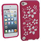 IGadgitz Pink & White Flowers Silicone Skin Case Cover for Apple iPod Touch 5th Generation 5G 32GB 64GB + Screen Protector
