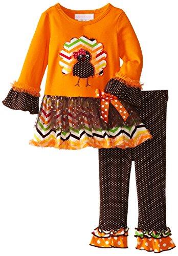 Bonnie Baby-Girls Infant Chevron Turkey Legging Set, Orange, 24 Months front-174022