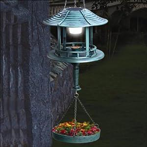 mangeoire solaire pour oiseaux suspendre avec lampe solaire et pot de fleurs. Black Bedroom Furniture Sets. Home Design Ideas