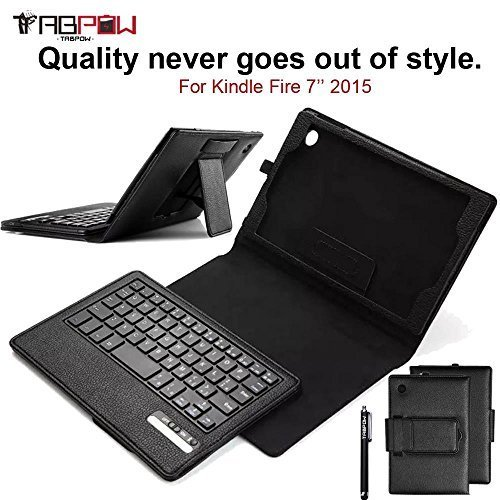 Why Choose Fire 7 2015 Case with Keyboard, TabPow [PU Leather Keyboard Case] Black Slim Folio Case C...