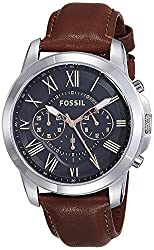 Fossil Grant Chronograph Analog Black Dial Mens Watch - FS4813