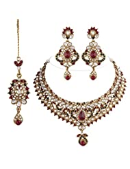 I Jewels Traditional Gold Plated Kundan Necklace Set With Maang Tikka For Women