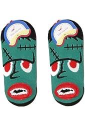 Unique Green and Black Trimmed Frankenstein Ankle Socks