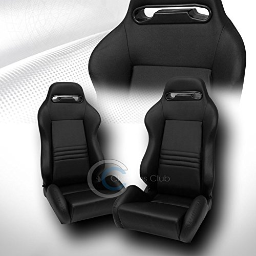 2X UNIVERSAL TR BLK STITCH PVC LEATHER RECLINABLE RACING BUCKET SEATS+SLIDER C01 (Racing Seats For 98 Dodge Neon compare prices)